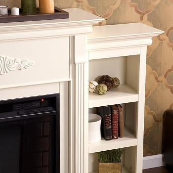 Detail of Southern Enterprises Tennyson electric fireplace with bookcases