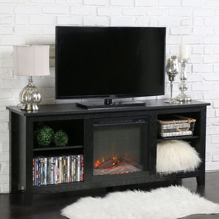 Electric fireplace as a TV stand