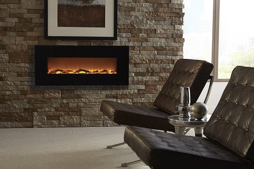 Wall mounted fireplace in a living room