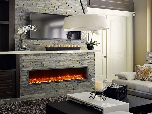 Wall mounted electric fireplace in a living room