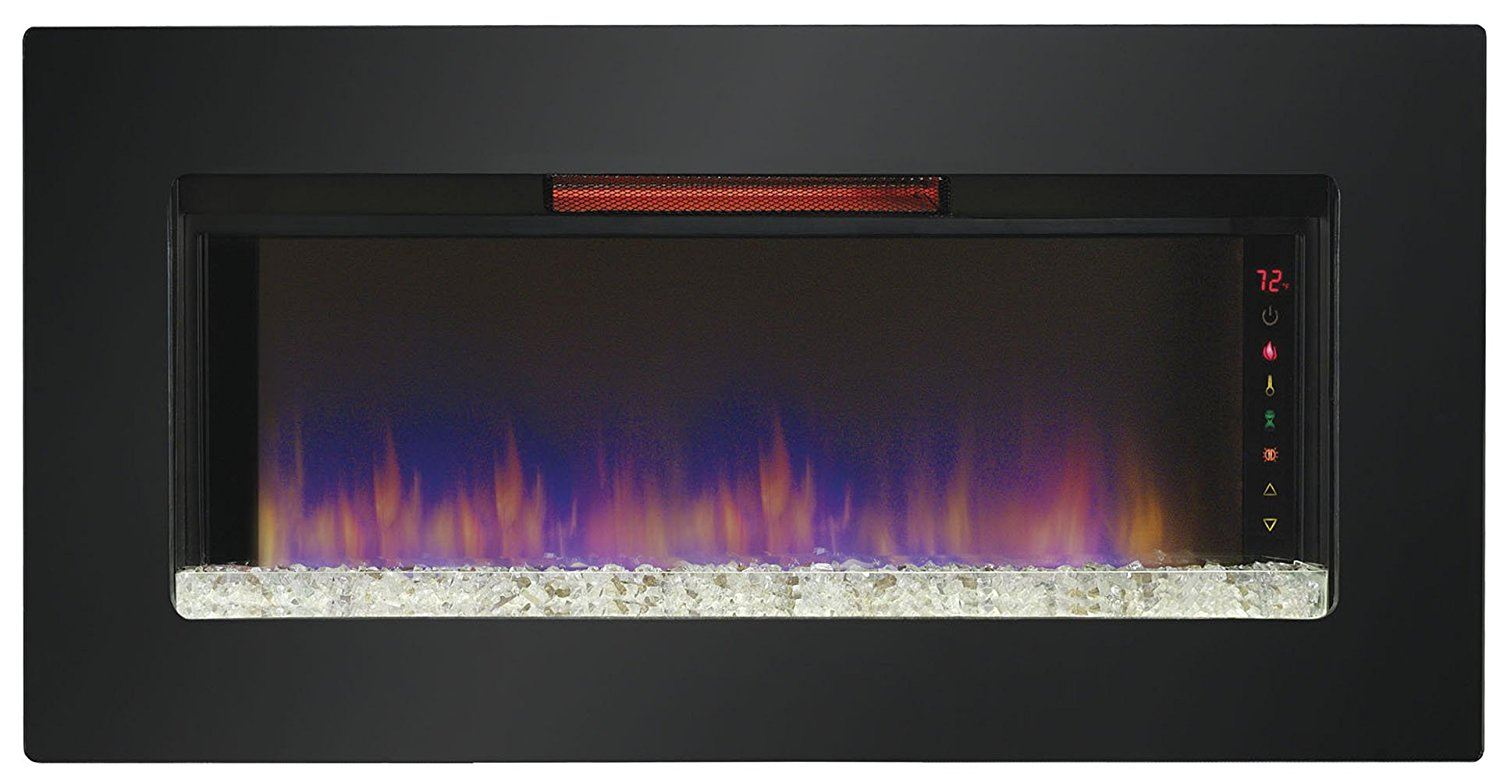 ClassicFlame Felicity Wall Mount Black Glass Infrared Quartz Fireplace