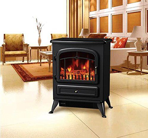 HomCom Free Standing Electric Wood Stove Fireplace Heater