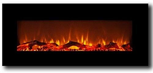 Moda Flame Black Cenergy Pebbles Recessed Wall Mount Electric Fire place