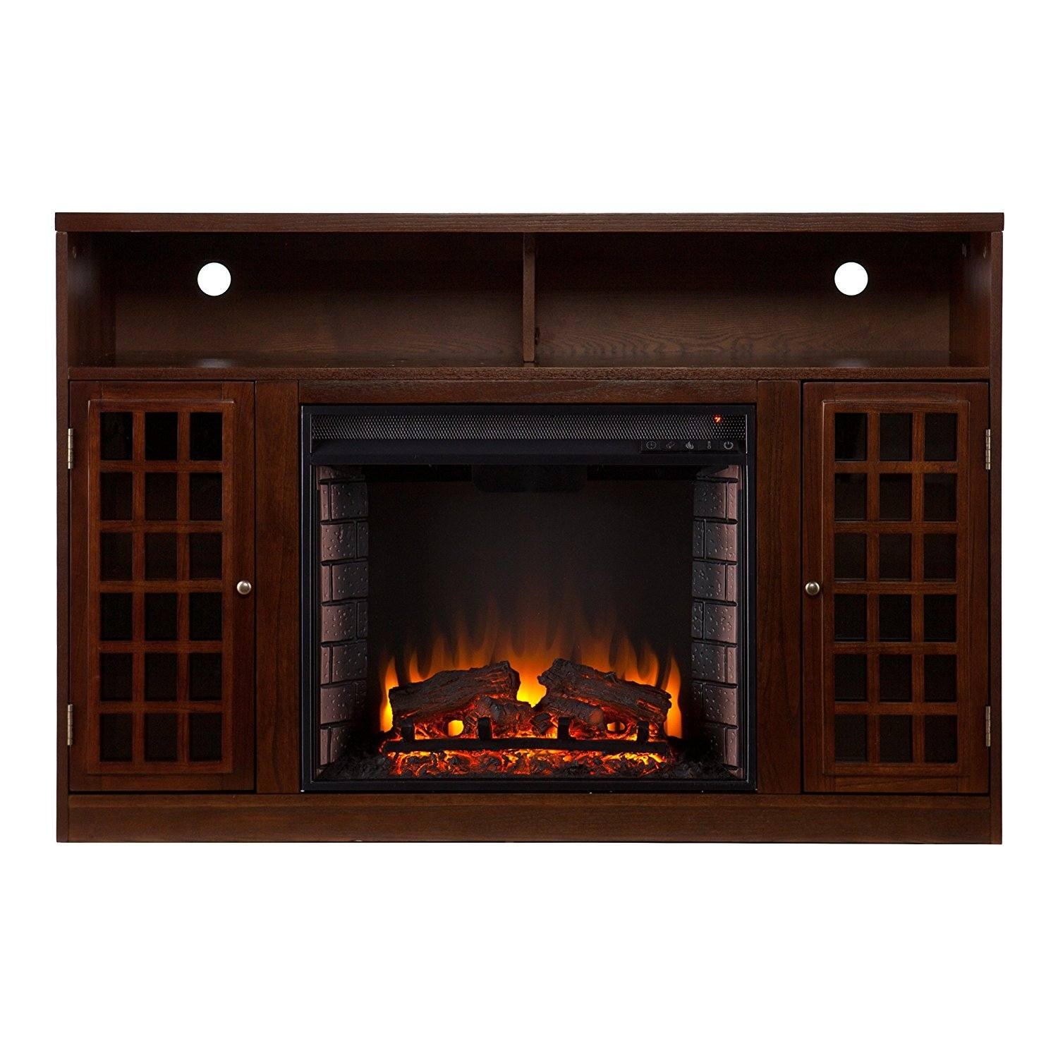 SEI Narita Media Console with Electric Fireplace, Espresso
